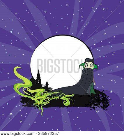 Vampire On Night Halloween Card , Vector Illustration