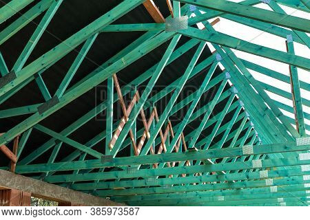 Construction Of A Family House. Impregnated Beams. Roofing Construction. Wooden Roof Frame House Con