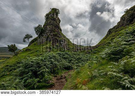 The Rocks Of Faerie Castle (castle Ewen) At The Fairy Glen In Isle Of Skye In Scotland, Uk
