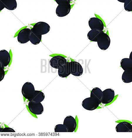 Illustration On Theme Of Bright Pattern Italian Olive, Oil Berry For Seal. Berry Pattern Consisting