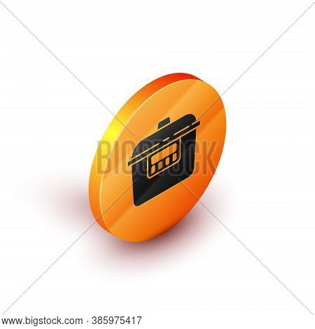 Isometric Slow Cooker Icon Isolated On White Background. Electric Pan. Orange Circle Button. Vector