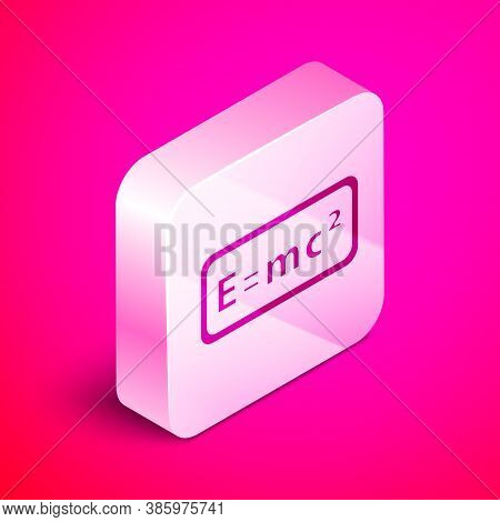 Isometric Math System Of Equation Solution Icon Isolated On Pink Background. E Equals Mc Squared Equ