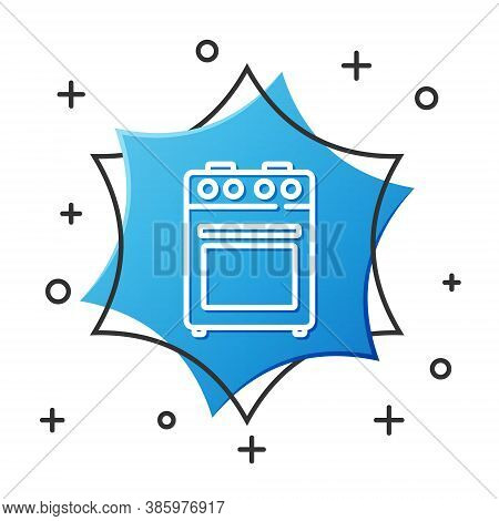 White Line Oven Icon Isolated On White Background. Stove Gas Oven Sign. Blue Hexagon Button. Vector