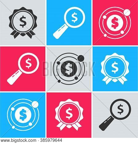 Set Price Tag With Dollar, Magnifying Glass And Dollar And Target With Dollar Symbol Icon. Vector