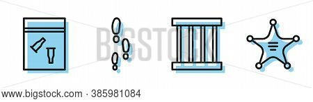 Set Line Prison Window, Evidence Bag And Bullet, Footsteps And Hexagram Sheriff Icon. Vector