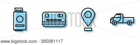 Set Line Location, Passport With Ticket, Credit Card And Pickup Truck Icon. Vector