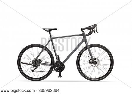 Studio shot of a gray sport road bicycle isolated on white background