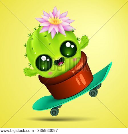 Funny Cartoon Little Cactus With Pink Flower On Skateboard. Cute Plant In Pot .vector Illustration.