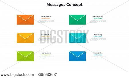Six Colorful Envelopes. Concept Of 6 Features Of Email Messages, Incoming And Outgoing Mail, Letters