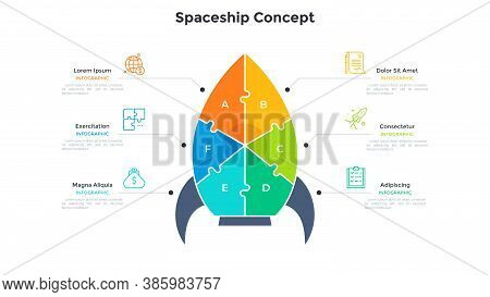 Space Rocket Or Spaceship Chart Divided Into 6 Colorful Pieces. Concept Of Six Features Of Business