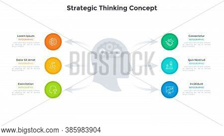 Head With Gear Wheels Inside And Arrows Pointing At Six Circular Elements. Concept Of 6 Stages Of St