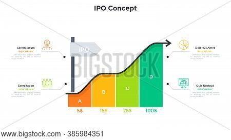 Ascending Arrow Chart And 4 Colorful Rectangular Elements. Concept Of Four Steps To Ipo Or Stock Mar