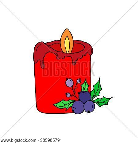 Vector Red Burning Candle With Holly Berries Isolated On A White Background. Aroma Candles. Candles