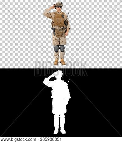 Military Soldier In Uniform Salutes, Alpha Channel With Silhouet