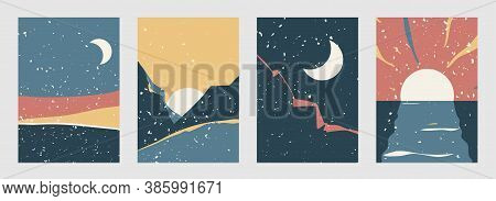 Abstract Landscape Vector Background Set In Modern Boho Style. Contemporary Minimal Style Patterns W