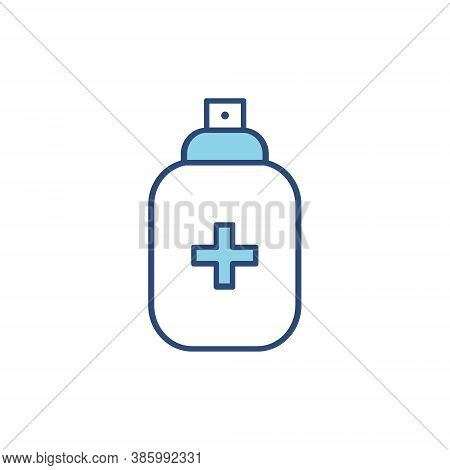 Antiseptic Spray Blue Line Icon. Antiseptic Outline Bottle Vector Illustration Isolated On White Bac