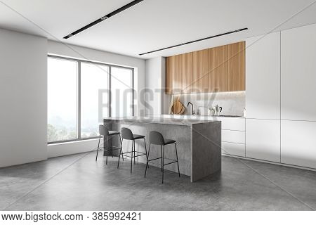 Corner Of Modern Kitchen With White And Wooden Walls, Concrete Floor And Bar With Stools. 3d Renderi
