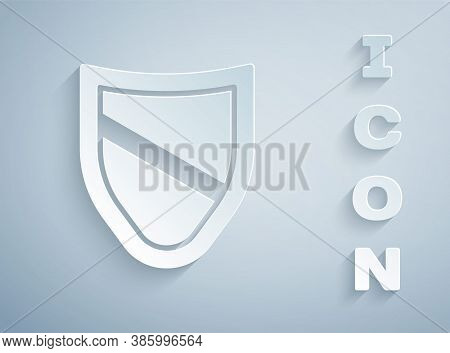 Paper Cut Shield Icon Isolated On Grey Background. Guard Sign. Security, Safety, Protection, Privacy