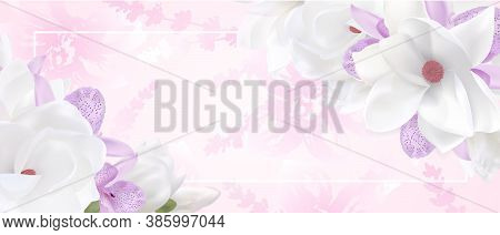 Romantic Flower Flame Design Template. Elegant Gift Certificate Background With Fresh Tropical Orchi