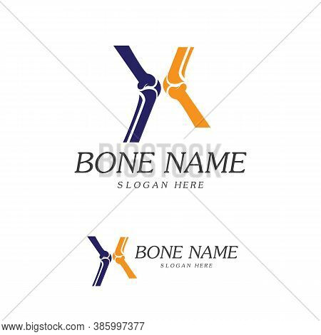Bone Plus Logo. Healthy Bone Icon. Knee Bones And Joints Care Protection Logo Template. Medical Flat