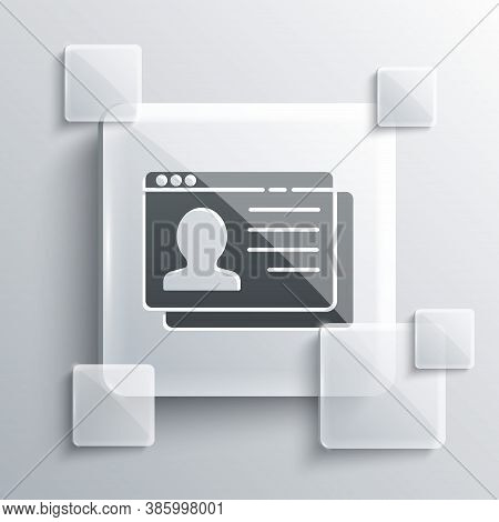 Grey Resume Icon Isolated On Grey Background. Cv Application. Searching Professional Staff. Analyzin