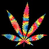 Multi Colored Tie Dyed Marihuana Pot Leaf poster