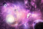 Illustration of deep space bright colorful galaxy with planets and space ships. poster