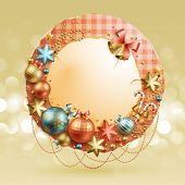 Christmas vintage bubble with baubles and place for text. Check my portfolio for vector version. poster