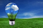 Global Concept of Green Energy Solutions With Light bulb and Planet on Bright Landscape poster