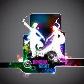 illustration of people dancing on disc in dandiya night poster