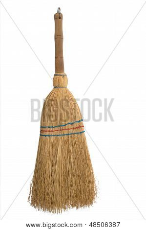 Broom Isolated Aganist White Background