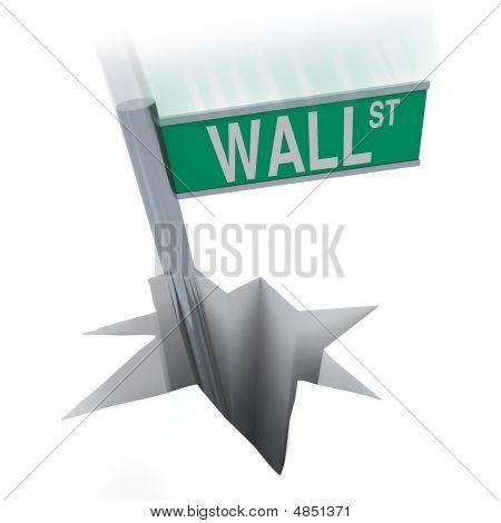 Wall Street Bear Market - Sign Falling In Hole