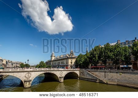 River Seine And Saint-michel Bridge In Paris, France