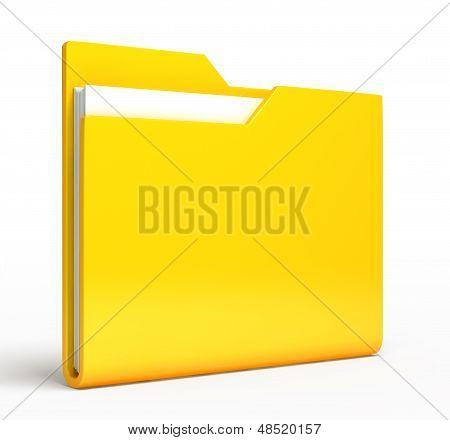 Yellow folder.  Isolated on white background