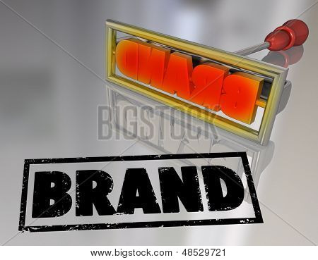 A branding iron stamping the word Brand on a product to illustrate a unique company or trade mark