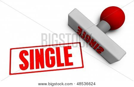 Single Stamp or Chop on Paper Concept in 3d