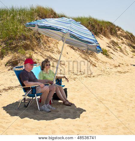 Couple At A Cape Cod  Beach