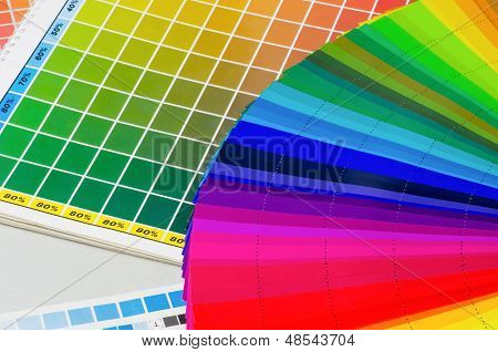 various color guides and a color fan