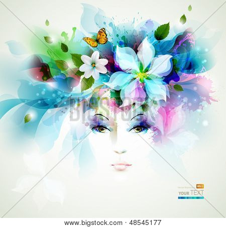 Beautiful fashion women face with natural elements, flowers and butterflies