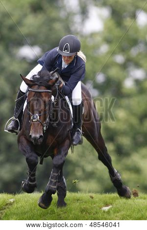 25/06/2011 HICKSTEAD ENGLAND, EL THUDER ridden by Louise  Pavitt (GBR) competing in the Bunn Leisure Speed Derby at the Hickstead Equestrian meeting held at Hickstead West Sussex England
