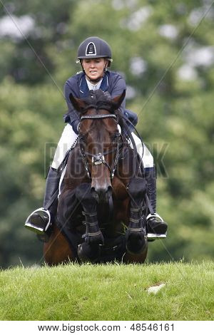 25/06/2011 HICKSTEAD ENGLAND, EL THUDER ridden by Louise  Pavitt (GBR) 3rd placed rider in the Bunn Leisure Speed Derby at the Hickstead Equestrian meeting held at Hickstead West Sussex England