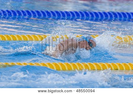 Jul 26 2009; Rome Italy; Federica Pellegrina swimming her way to breaking the world record to win the womens 400m freestyle final at the 13th Fina World Aquatics Championships