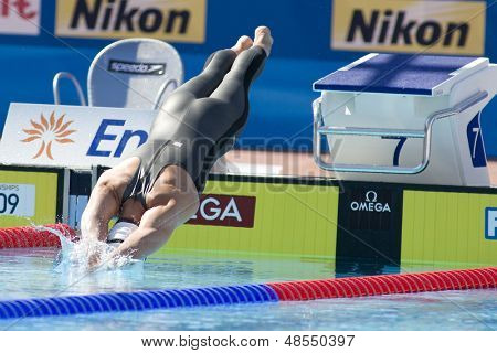 Jul 25 2009; Rome Italy; Daniel Madwed (USA)  competing in the men's 400m Freestyle at the 13th Fina World Aquatics Championships held in the The Foro Italico Swimming Complex.