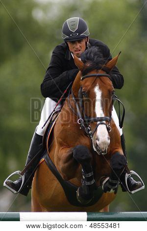 25/06/2011 HICKSTEAD ENGLAND, ANDINO Z ridden by Trevor  Breen (IRL) competing in the Falcon Equine Feeds Derby Trophy at the Hickstead Equestrian meeting held at Hickstead West Sussex England