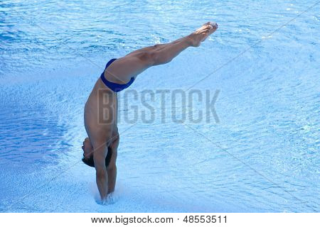 Jul 23 2009; Rome Italy; Yahel Castillo (MEX) competing in the final round of the men's 3m springboard diving competition at the 13th Fina World Aquatics Championships