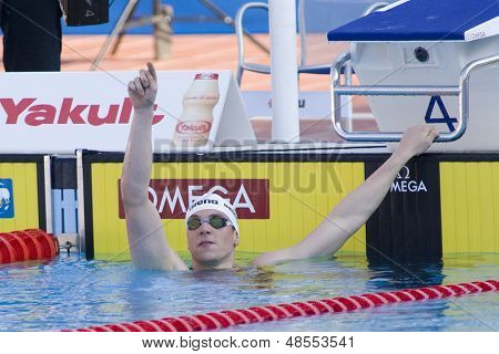 Jul 26 2009; Rome Italy;  Paul Biedermann (GER) celebrates winning the mens 400m freestyle finals at the 13th Fina World Aquatics Championships held in the The Foro Italico Swimming Complex.