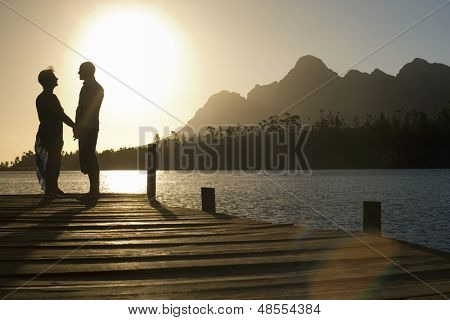 Side view of happy senior couple standing on edge of pier by lake poster
