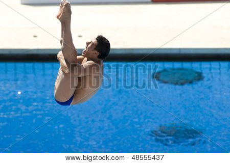 Jul 23 2009; Rome Italy; Javier Illana (ESP) competing in the final round of the men's 3m springboard diving competition at the 13th Fina World Aquatics Championships