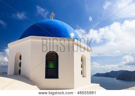 Blue Domed Church Oia Santorini Greece