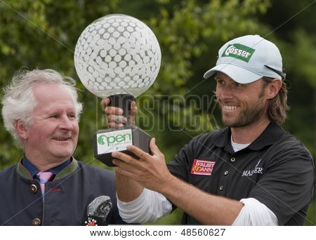SAINT-OMER, FRANCE. 20-06-2010, Martin Wiegele (AUT) winning  the European Tour, 14th Open de Saint-Omer, part of the Race to Dubai tournament and played at the AA Saint-Omer Golf Club .